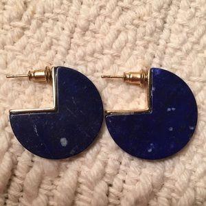Lapis Coin Earrings